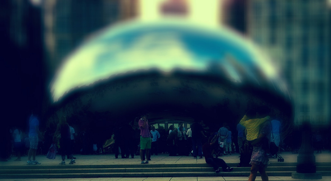 filtered photo of the chicago silver bean